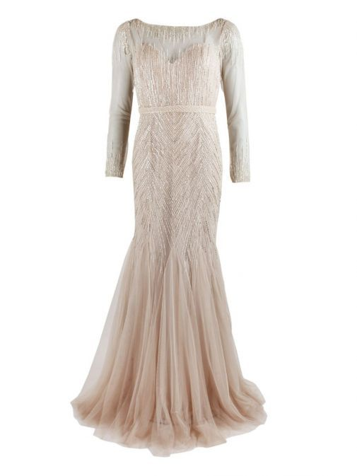 Front product shot of Rosa Clara Full Length Beaded Dress in Champagne colour, Style 1T123