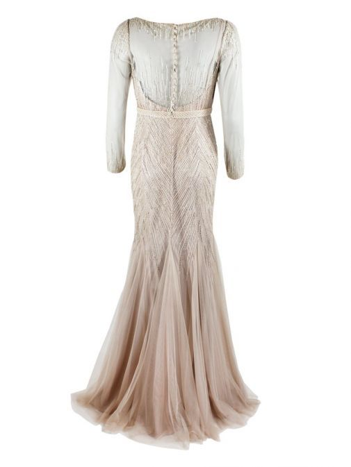 Back product shot of Rosa Clara Full Length Beaded Dress in Champagne colour, Style 1T123