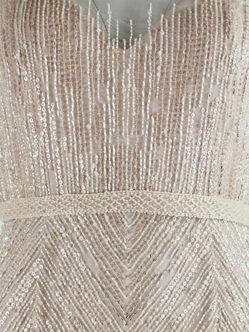 Close up shot of Rosa Clara Full Length Beaded Dress in Champagne colour, Style 1T123