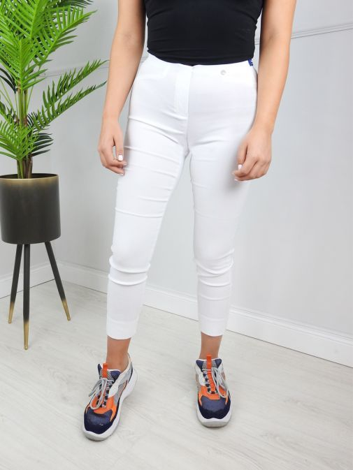 Robell White Super Slim Fit Trousers (Style: Rose 09)