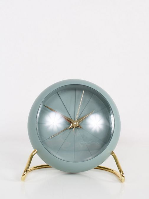 Front shot of Sage Green and Gold Alarm Clock