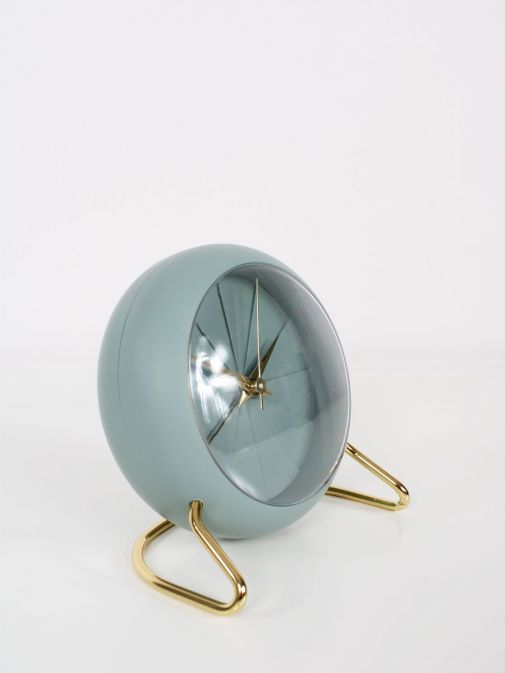 Side shot of Sage Green and Gold Alarm Clock