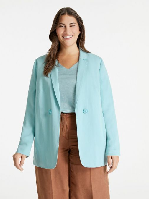 Front shot of the Samoon Blazer in the Blue colour featuring lapel collar, buttons and long sleeves