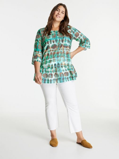 full outfit shot of the Samoon Flared Blouse in the Blue colour featuring a rounded neckline, buttons and 3/4 length sleeves