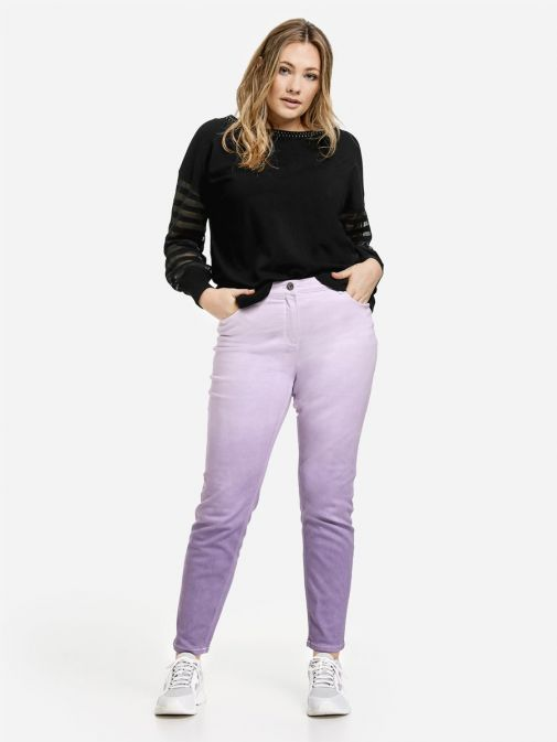 full outfit shot of the Samoon Ombre Jeans in the Purple colour featuring 5 pockets, button fastening and zip