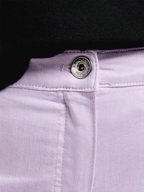 Closeup of the Samoon Ombre Jeans in the Purple colour featuring button fastening and zip