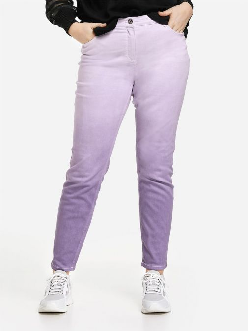 Front shot of the Samoon Ombre Jeans in the Purple colour featuring 5 pockets, button fastening and zip