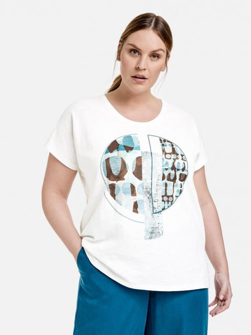 Front shot of the Samoon Printed T-Shirt in the White colour featuring a rounded neckline, short sleeves and printed design to the front