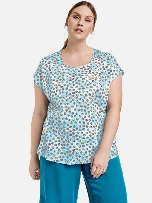 Front shot of the Samoon Short Sleeve Top in the Blue colour featuring a rounded neckline, short sleeves and printed detail