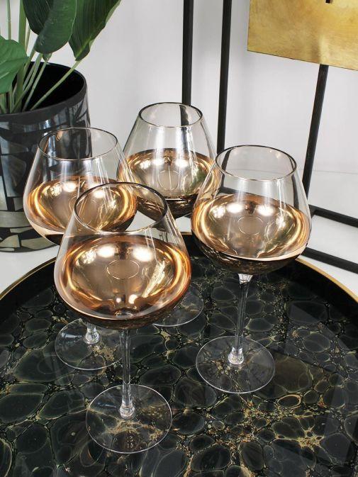 closeup shot of the Set of 4 Smoke Wine Glasses on tray