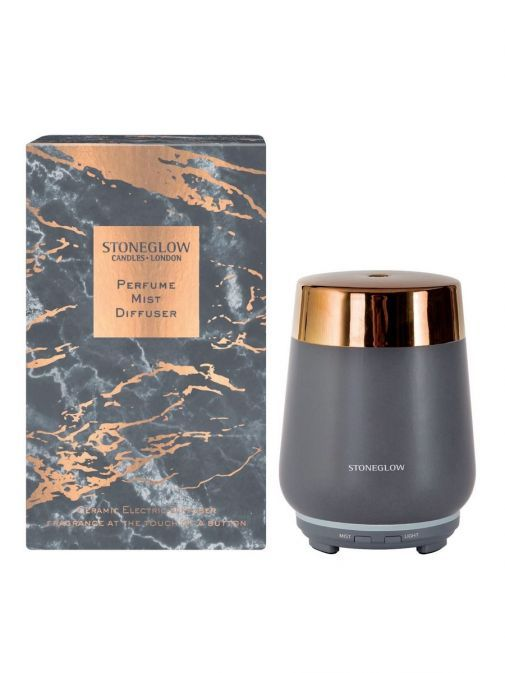 Front shot of the Stoneglow Luna Perfume Mist Diffuser in the Copper and Grey colour and featuring the box