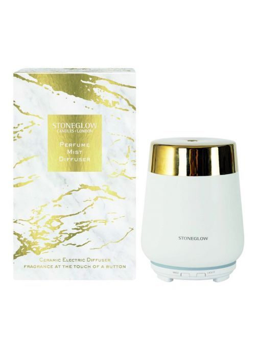 front shot of the Stoneglow Luna Perfume Mist Diffuser in the White colour featuring the packing