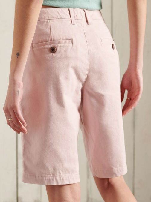 Back shot of the Superdry City Chino Shorts in the Pink colour featuring belt buckle, buttons and pockets.