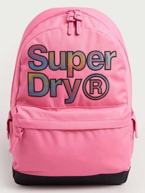 Front image of Superdry Rainbow Infill Montana Backpack in Pink
