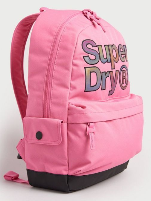 Side image of Superdry Rainbow Infill Montana Backpack in Pink