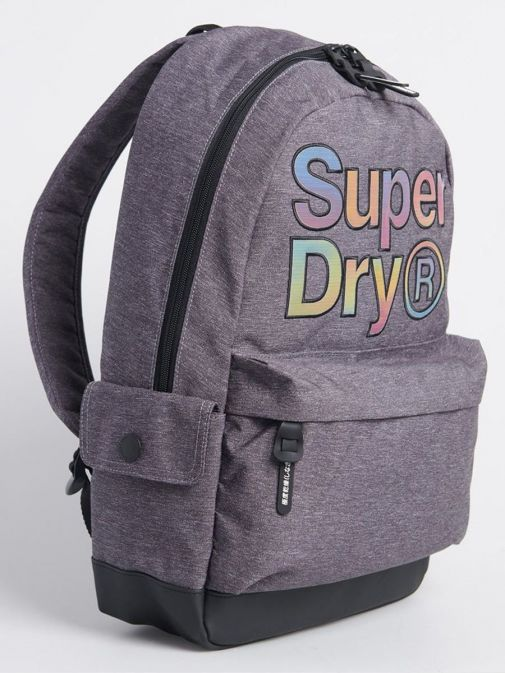 Side image of Superdry Rainbow Infill Montana Backpack in Grey Marl