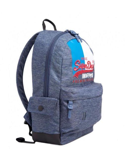 side shot of the Superdry Vintage Logo Montana Backpack Navy