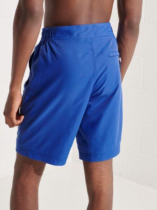 Back shot of Model wearing Superdry Classic Board Shorts in Cobalt Blue for men