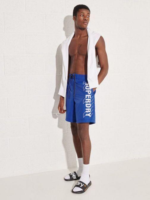 Full shot of model wearing Superdry Classic Board Shorts in Cobalt Blue for men