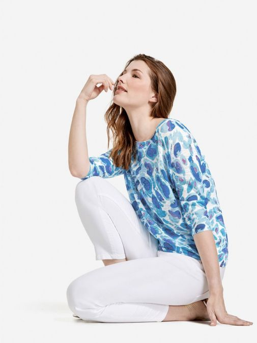full outfit shot of the Taifun 3/4 Length Sleeve Printed Jumper in the Blue colour featuring printed design, rounded neckline and 3/4 length sleeves