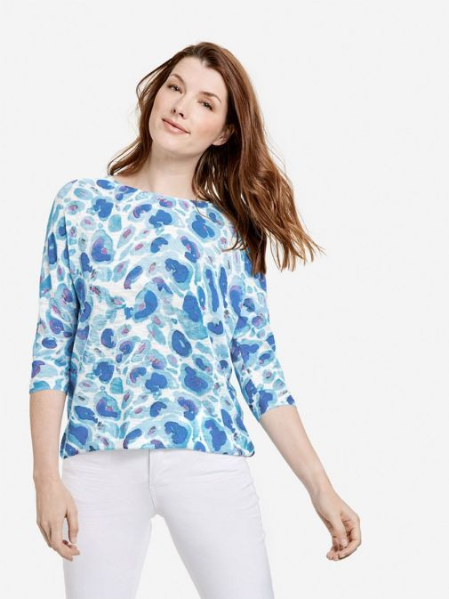 Front shot of the Taifun 3/4 Length Sleeve Printed Jumper in the Blue colour featuring printed design, rounded neckline and 3/4 length sleeves