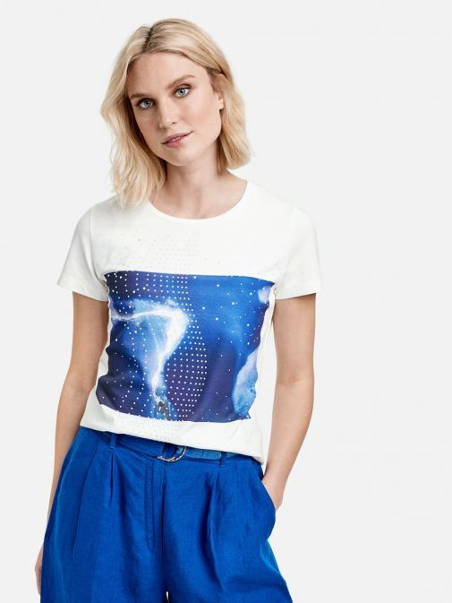 Front shot of the Taifun Graphic T-Shirt in the  White colour featuring short sleeves, rounded neckline and diamonte detail