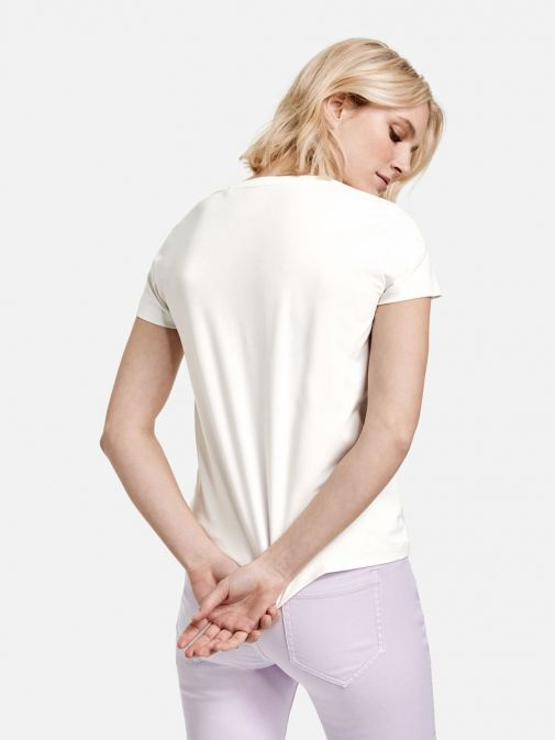 back shot of the Taifun Printed Short Sleeve T-Shirt in the White colour featuring a round neckline, short sleeves