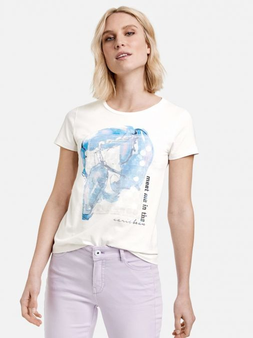 Front shot of the Taifun Printed Short Sleeve T-Shirt in the White colour featuring round neckline, short sleeves and printed design