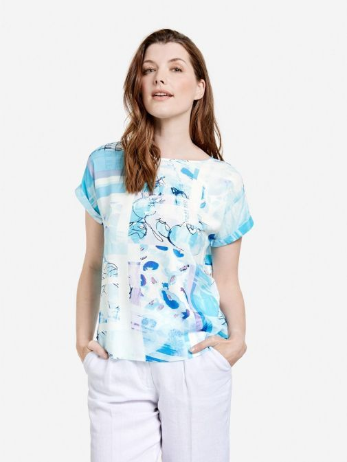 Front shot of the Taifun Printed Top in the Blue colour featuring cap sleeves with turn up's and rounded neckline