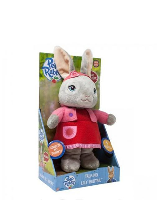 Side Picture of Talking Lily Bobtail Soft Toy from Peter Rabbit in Display Box