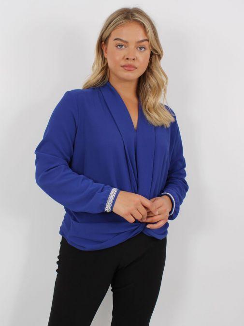 Model wearing Tia Knot Effect Blouse in Blue