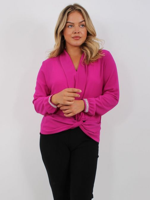 Model wearing Tia Knot Effect Blouse in Pink