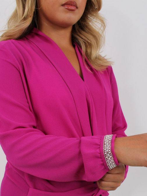 Close up of model wearing Tia Knot Effect Blouse in Pink