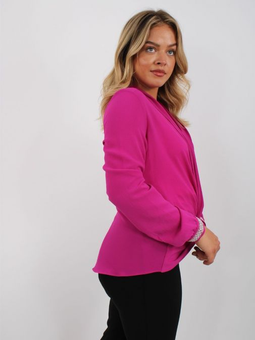 Back shot of model wearing Tia Knot Effect Blouse in Pink