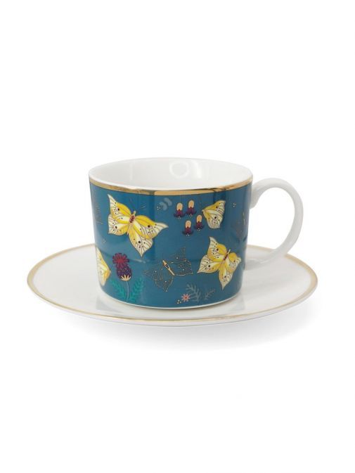 Front shot of the Green Tipperary Crystal Butterfly Cappuccino Set of 2