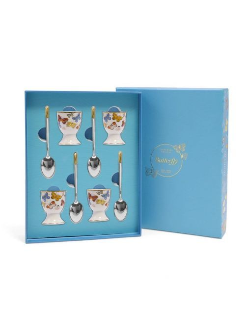 Front shot of the Tipperary Crystal Butterfly Egg Cup and Spoon Set of 4 with box