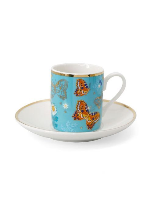 Front shot of the Tipperary Crystal Butterfly Espresso Set of 2 in the light blue colour