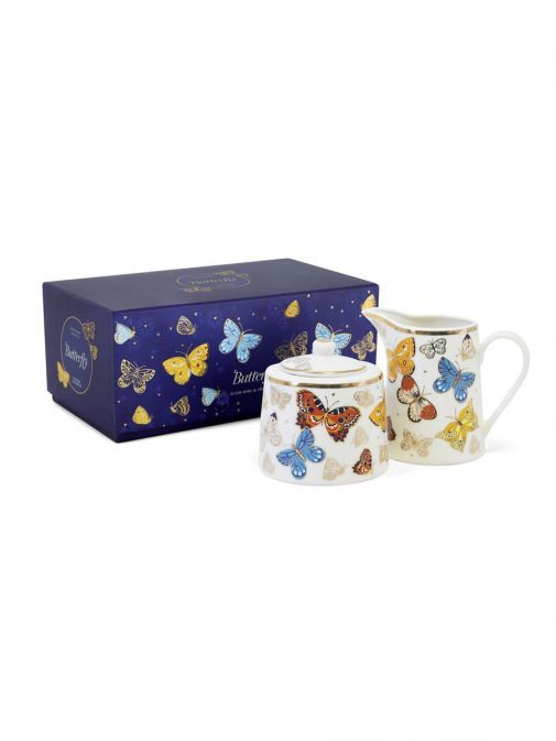 Front shot of the Tipperary Crystal Butterfly Sugar Bowl and Milker Set with box