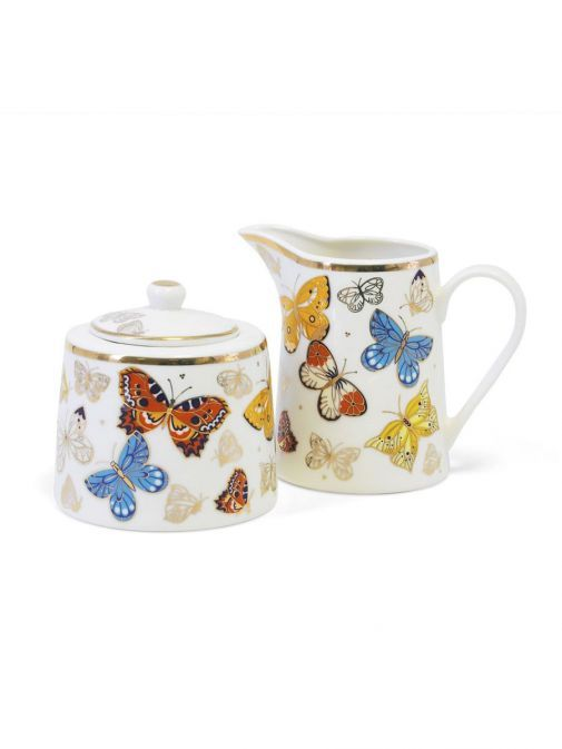 Front shot of the Tipperary Crystal Butterfly Sugar Bowl and Milker Set