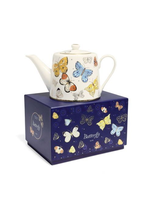 Front shot of the Tipperary Crystal Butterfly Tea Pot with box