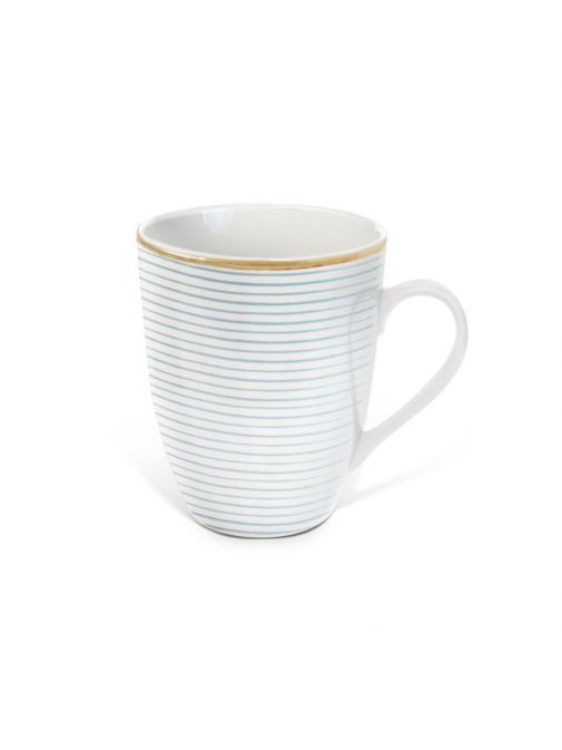 front shot of the Tipperary Crystal Parallel Lines light blue mug
