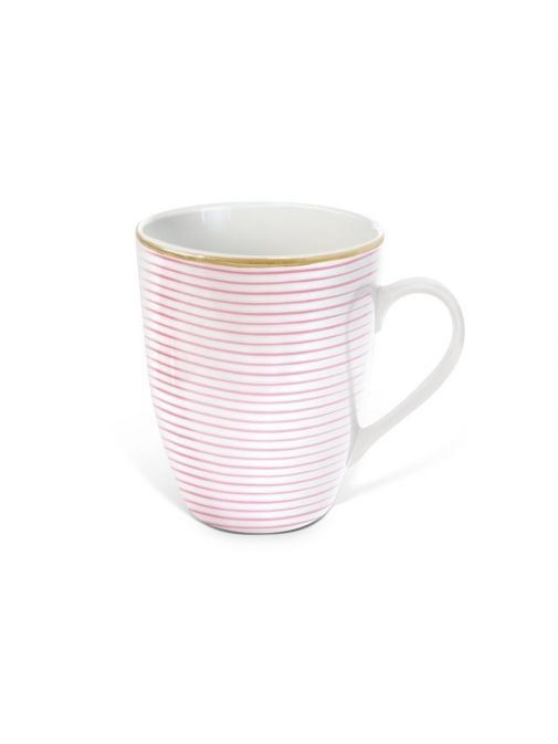 front shot of the Tipperary Crystal Parallel Lines pink mug