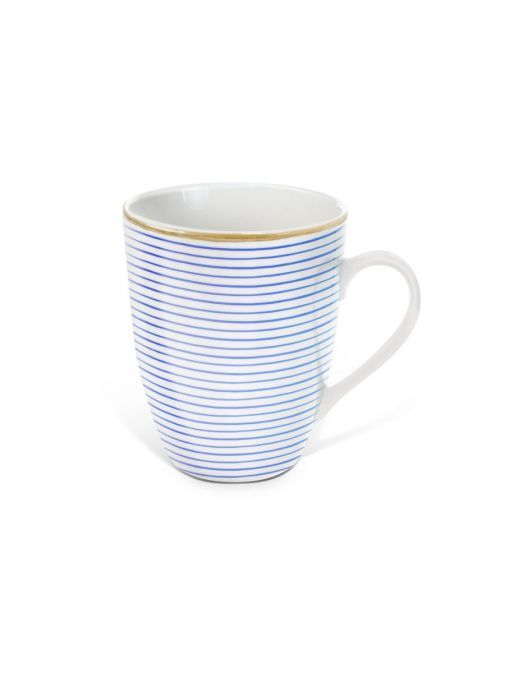 front shot of the Tipperary Crystal Parallel Lines blue mug