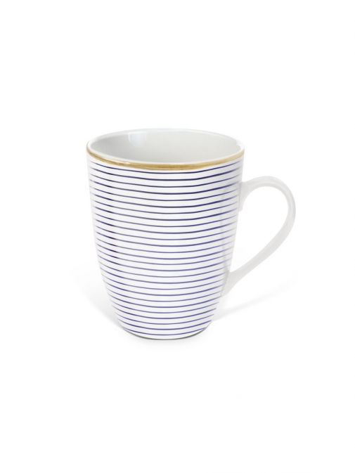 front shot of the Tipperary Crystal Parallel Lines purple mug
