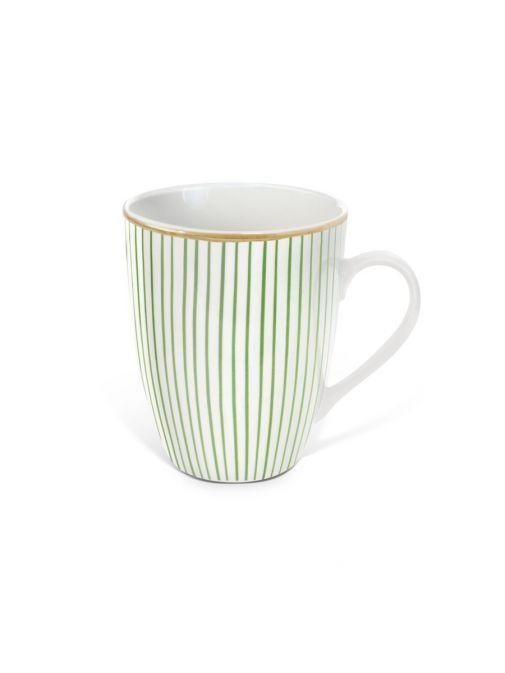 Front shot of the Tipperary Crystal Pinstripe green mug