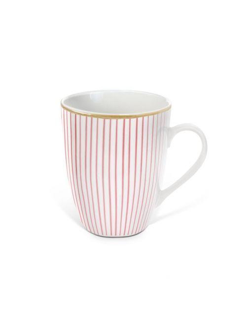 Front shot of the Tipperary Crystal Pinstripe pink mug