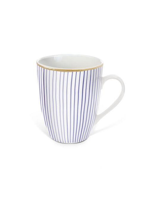 Front shot of the Tipperary Crystal Pinstripe lilac mug