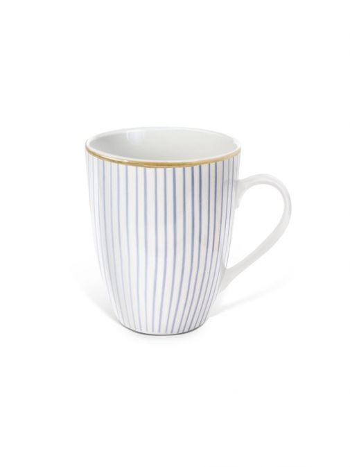 Front shot of the Tipperary Crystal Pinstripe purple mug