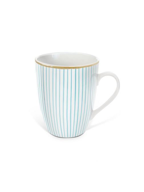 Front shot of the Tipperary Crystal Pinstripe blue mug
