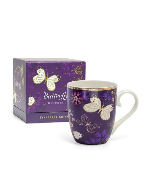 Front shot of the Tipperary Crystal Single Butterfly Mug The Cabbage White